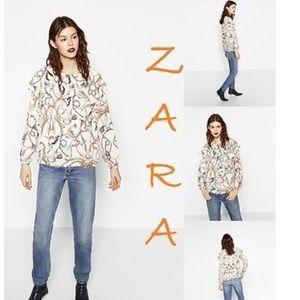 Zara double frill chain print blouse. NWT